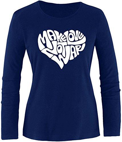 EZYshirt® Make love not war Damen Longsleeve Navy/Weiss