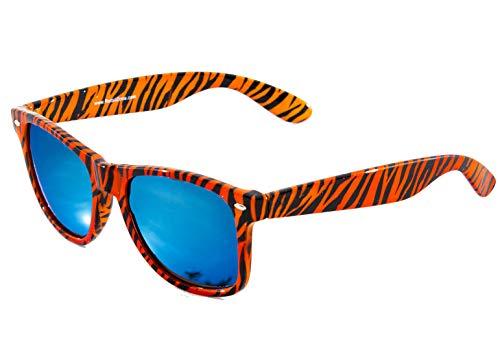 RetailZone Wayfarer Sonnenbrille, Tigerprint, Blau verspiegelt, für Damen und Herren