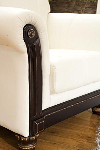Designer Ledersofa Ledermöbel Leder-Sofa-3 Sitzer Garnitur Couch 278-3-weiß - 3