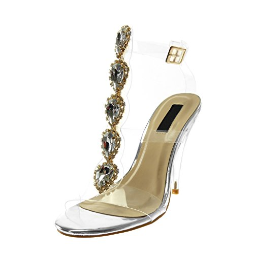 Angkorly - scarpe moda sandali decollete con tacco alti con cinturino alla caviglia donna gioielli trasparente strass tacco a cono alto 12 cm - argento b7763 t 37