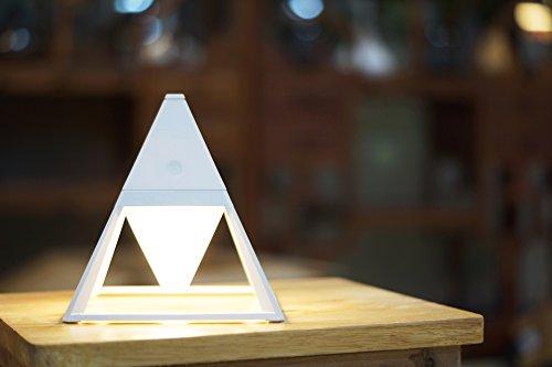 VUKUB Pyramide-Intelligente Noten-Steuerschalter-Licht-LED Tischlampe -2200Mah Drei Arten Lichter Können USB-Belasteten Gesten-Steuerschalter Regeln,White - Bronze-lüfter