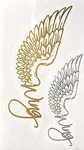 STRASS ET PAILLETTES - Mini tatouages éphémères métallique waterproof wing ailes d'ange or argent. Tatoo temporaire or - Bijou de peau