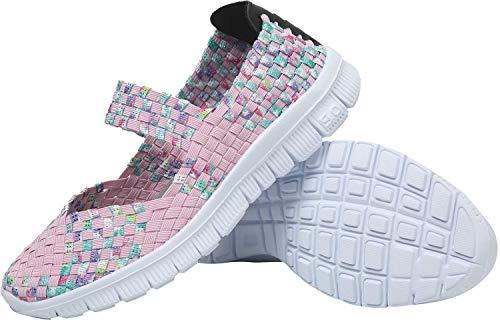 L-Run Zapatos de Mujer de Verano Mujeres Sandalias con Correa Elástica Cómodo Rosa EU35