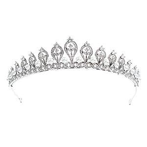 Sepbridals Kristalle CZ Zirkonia Perlen Hochzeit Tiara Krone Diadem Braut Haarschmuck Zubehör CH10109