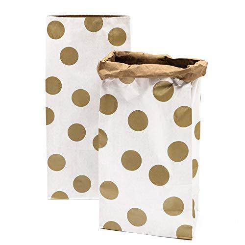 Rico Design Blockbodenbeutel 2X Paperbag Groß zur Aufbewahrung Braun Gold Weiß Papiersack Papiertasche Kraftpapier Größe: 60 x 28 x 17 cm - Stauraum-insel