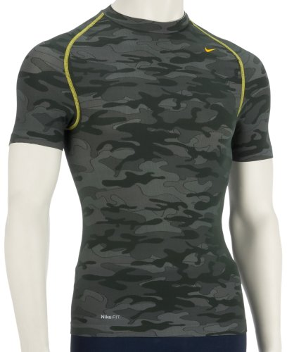 Nike Mens Pro-Coupe-Vent à manches courtes et col rond - 205912 - Military Green Camouflage