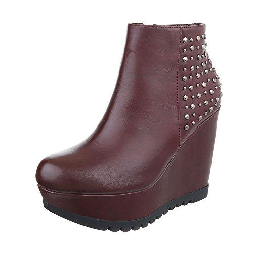 Ital-Design Keilstiefeletten Damen-Schuhe Plateau Keilabsatz/Wedge Keilabsatz Reißverschluss Stiefeletten Bordeaux, Gr 37, Jzx2735-2-