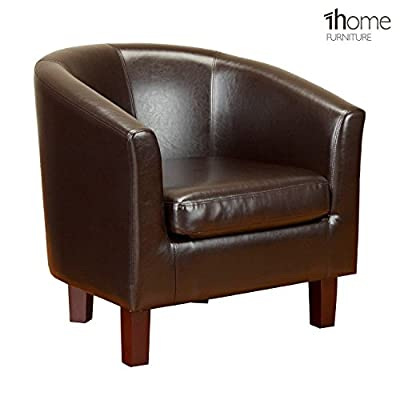 1home Bonded Leather Tub Chair Armchair for Dining Living Room Office Reception (Brown) - low-cost UK chair shop.