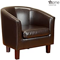 1home Bonded Leather Tub Chair Armchair for Dining Living Room Office Reception (Brown)