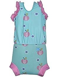 Splash About CHNADM - Traje de baño  para bebé niña, color azul cielo con diseno de manzanas y margaritas, 3-8 meses