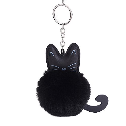 Fluffy Cat Key Ring Keychain Fashion Jewelry Bag Hang Accessories Gift
