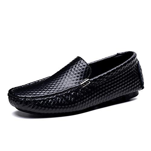 FRWANG Uomo Pelle Mocassini Scarpe da Guida Casuale, Oxford Business Scarpe  Piatto Sposa Scarpe da Barca Taglia 38-47EU,Nero,45