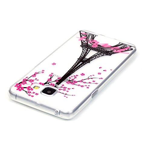 Pour Apple iPhone 5 5S Coque,Ecoway Housse étui en TPU Silicone Shell Housse Coque étui Case Cover Cuir Etui Housse de Protection Coque Étui Apple iPhone 5 5S –XS prune fleur XS Mei Tour