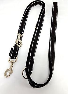 Hundeleine Doppelleine Gurtband reflektierend 25mm 3,50m schwarz 4fach verstellbar für große und kräftige Hunde
