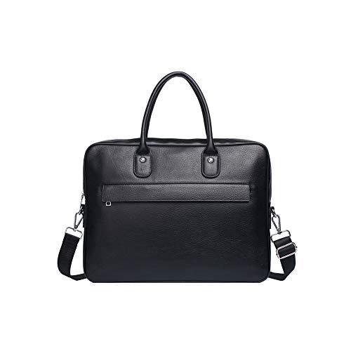 FRYP Schwarze Büro-Aktentasche für Herren, Business-Laptoptasche mit großer Kapazität, Umhängetasche für Freizeitmänner, Umhängetasche -