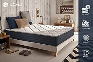 Naturalex ROYALVISCO Mattress, 25 cm 135 x 190 cm + Blue Latex® Memory Foam Double Sided (Summer/Winter)