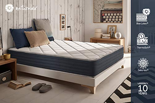 NATURALEX Matelas Royalvisco - Mémoire de Forme Thermosoft - Système UHR Blue Latex - 7 Zones de...