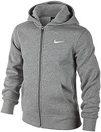 Nike- Felpa Con Cappuccio Bambino, Dk Grey Heather/Bianco, M (Taglia del produttore:10-12 Anni/137-147)