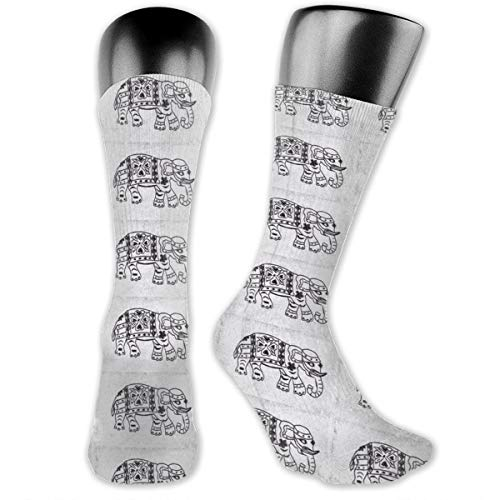 Black Elephant On Gray-white Unisex Athletic Full Crew Socks Running Gym Compression Foot