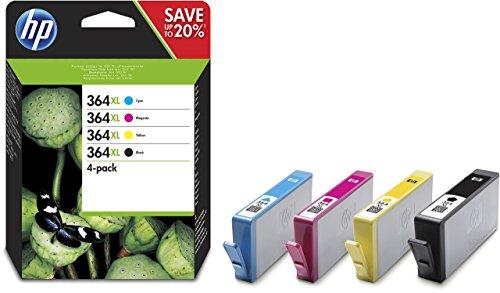 HP 364XL Multipack Original Druckerpatronen (Schwarz, Rot, Blau, Gelb) mit hoher Reichweite für HP Deskjet 3070A, 3520; HP Photosmart 5510, 5515, 5520, 5525, 6510, 6520, 7510, 7520, C5324, C5380, C6324, C6380, B8550, D5460; HP Officejet 4620, 4622