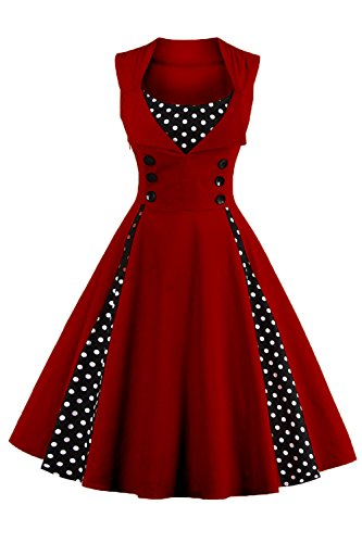 Damen 50er Jahre Petticoat Kleid rotes Kleid Polka Dots Knielang Wein Rot M