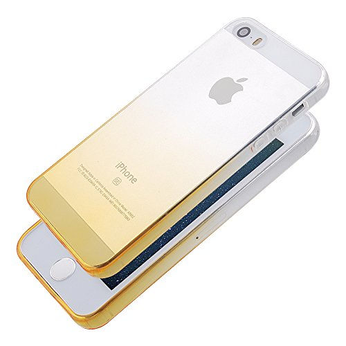 Pridot Gradient Colour TPU Custodia Case for iPhone SE 5S 5 Ultra Thin Caso Anti Slip Soft Bumper Scratch Resistant Back Cover Crystal Clear Flexible Silicone Case - Blue Sky 80205 Giallo