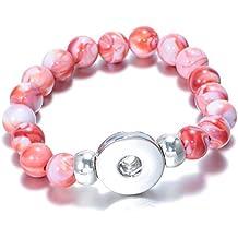 Soleebee Bracelet perle pour Femme et Fille ronde Bracelet en résine élastique Bracelet a bouton pression charms bouton fit 18mm (Jacinthe)