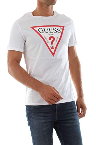 Guess Herren Cn Ss Original Logo Core Tee T-Shirt, Weiß (True White A000 Twht), X-Large