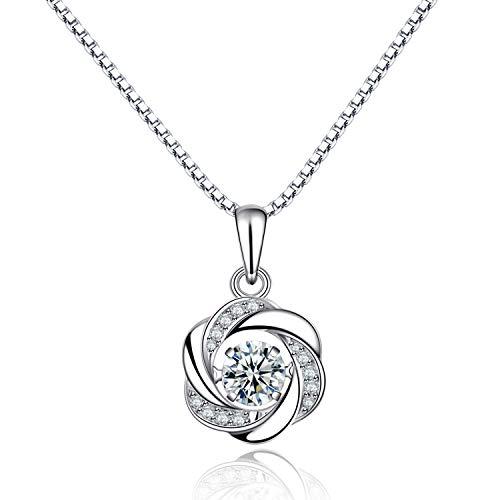 Balnore Halskette Damen Kette 925 Sterling Silber Anhänger chmuck Zirkonia 48CM Kettenlänge Geschenk für Damen