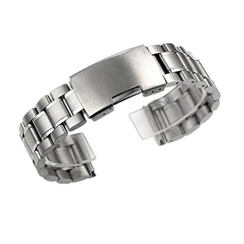 ZEIGER Uhrenarmbänder Edelstahl Silber Uhrarmband mit Faltschließe Metall Uhr Armband 20mm Uhren Band B005