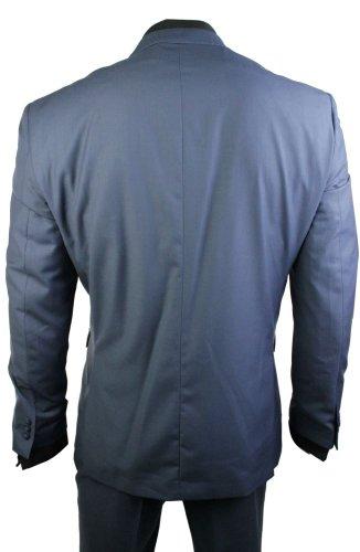 Hommes 2 bouton bleu poussiéreux intelligent costume de noce de bureau usure occasionnelle coupe ajustée Bleu