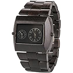 Men's watch with a wooden bracelet, quartz men's watch made of wood, clockwork with double swing for two time zones