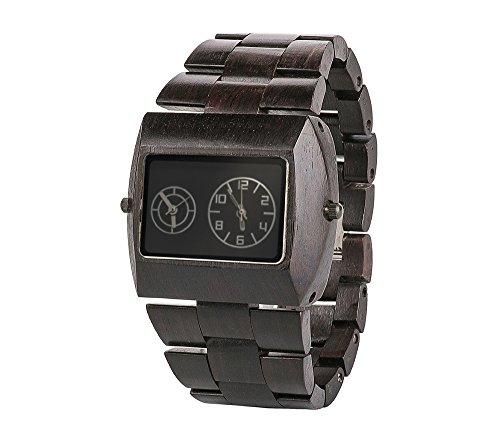 Reloj para hombres de pulsera de madera, reloj de cuarzo para hombres hecho de madera, mecanismo de reloj de recorrida doble para dos zonas horarias