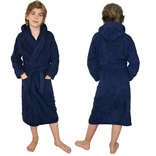 HOMELEVEL Kinder Frottee Bademantel aus 100% Baumwolle für Mädchen und Jungen (152, Dunkelblau)