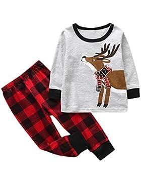 Baby Kinder Kleidung Longra 2 Stück Kleinkind Baby Junge Mädchen Kleider Set Langarmshirt Tops Streifen Hose Weihnachten...