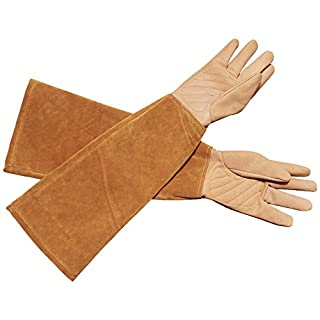 Rose Pruning Thorn Proof Gloves For Men and Women, Goatskin Leather Gardening Gloves Gauntlet Cactus Gloves Blackberry Gloves To Protect Your Arms Until The Elbow (HCT05) (Small)