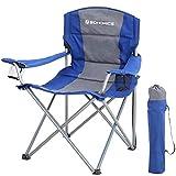 SONGMICS Chaise de Camping Pliante XL, avec Coussin en éponge, Large et Confortable, Structure Durable, Charge Max 150 kg, Chaise d'extérieur, Bleu GCB07BU