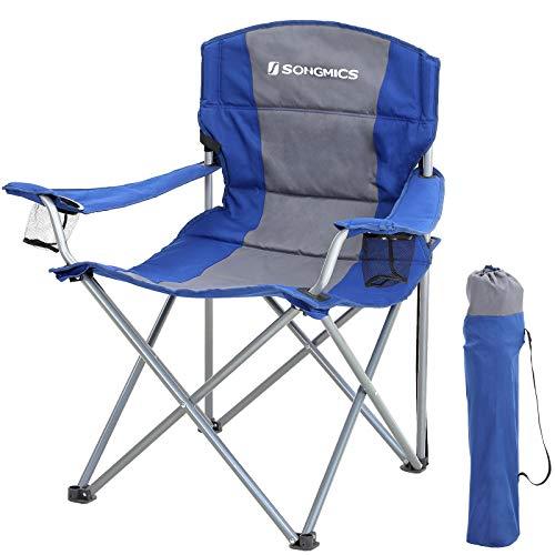 SONGMICS XL Campingstuhl, klappbar, mit gepolstertem Sitz, groß und komfortabel, Klappstuhl mit robustem Gestell, bis 150 kg belastbar, Outdoor Stuhl, blau GCB07BU