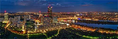 Bis 3 Meter Breite! XXLPanorama LED Glas Leuchtbild, Wien Österreich Skylinepanorama Uno City, Wanddeko Wandbild Rahmenlos dimmbar vollflächig homogen LED hinterleuchtet