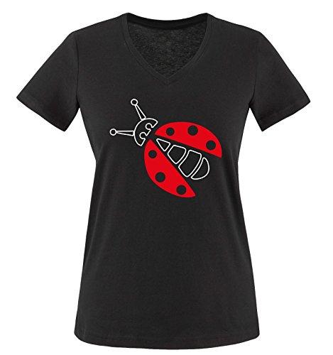Comedy Shirts - MARIENKÄFER KOSTÜM - Damen V-Neck T-Shirt - Schwarz/Weiss-Rot Gr. M