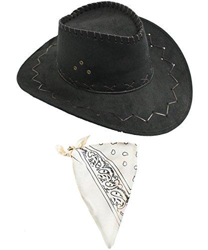 Wildleder Look Cowboy Cowgirl Western Hut KOSTÜM VERKLEIDUNG+VERSCHIEDENEN Paisley Bandana/Halstuch WILD West=Hut IN BRAUN ODER SCHWARZ+HALSTÜCHER IN 5 SCHWARZER Hut + WEISSES Halstuch