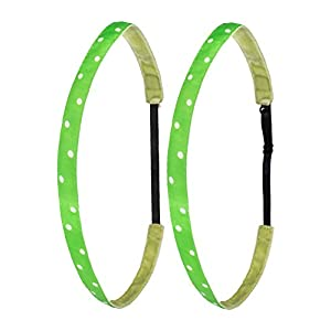 Ivybands® Mom's & Kids Edition | 2-er Pack | Green White Dots Edition | Grün Weiss Gepunktet | Anti-Rutsch Haarband für Mutter/Mütter & Kinder/Kind | Kinderhaarband IAMKID025