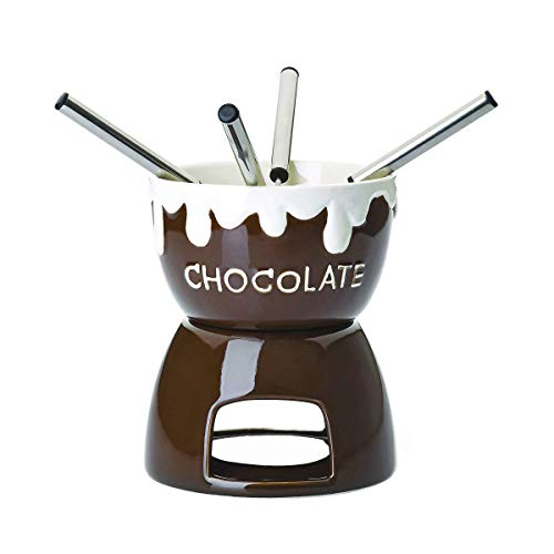 BUTLERS Bobby Brown Schokoladenfondue 7-tlg. in Braun aus Keramik Ø 11,5 cm - Schoko Fondue Set für vier Personen
