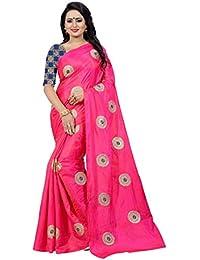 [Sponsored]Ecolors Fab Women's Paper Silk Embroidered Saree With Jacquard Blouse Piece(Paper_silk_Kuvari_Sari)