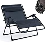 Fineway. Double Love Seat 2 Seater Companion Folding Gravity Sun Lounger Chair Recliner Garden With 2 Side Tray Drink Holder (2 Seater Gravity Chair)