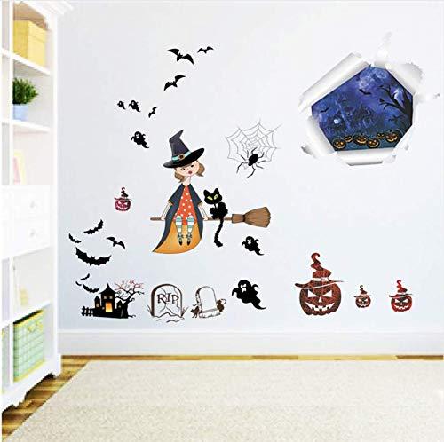 Effekt Hexe Geist Wandtattoos Für Kinderzimmer Wohnkultur Halloween Festival Wandaufkleber Diy Poster Pvc Wandbild Kunst 3D
