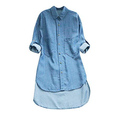 VEMOW Sommer Herbst Elegante Damen Plus Größe Dot Print Lose Baumwolle Casual Täglichen Party Strandurlaub Kurzarm Shirt Vintage Bluse Pulli(X6-a-Hellblau, EU-42/CN-XL) -