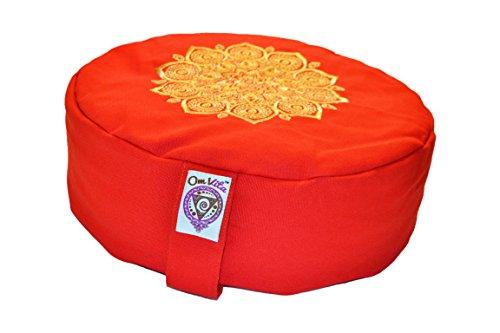 Om vita cuscino da meditazione Zafu biologico 100% con motivo Mandala, Red Stitched