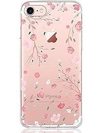 iPhone 7 / 8 Hülle, DAPP® Dolce Vita Serie Transparente Silikon Handyhülle für Damen / Mädchen, Durchsichtig mit Rose Blumen Muster