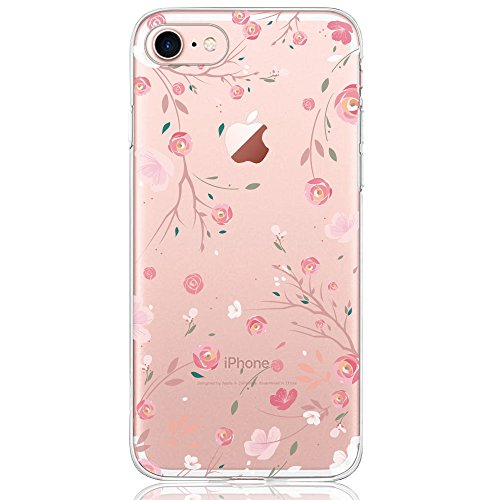DAPP® kompatibel mit iPhone 7/8 Hülle, Dolce Vita Serie Transparente Silikon Handyhülle Accessoires für Damen/Mädchen, Durchsichtig mit Rosa Rose Blumen Muster